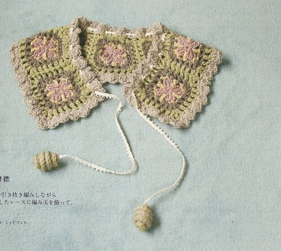 Japanese Crochet Blocks Collar Pattern - Japanese Craft Crochet Book ...