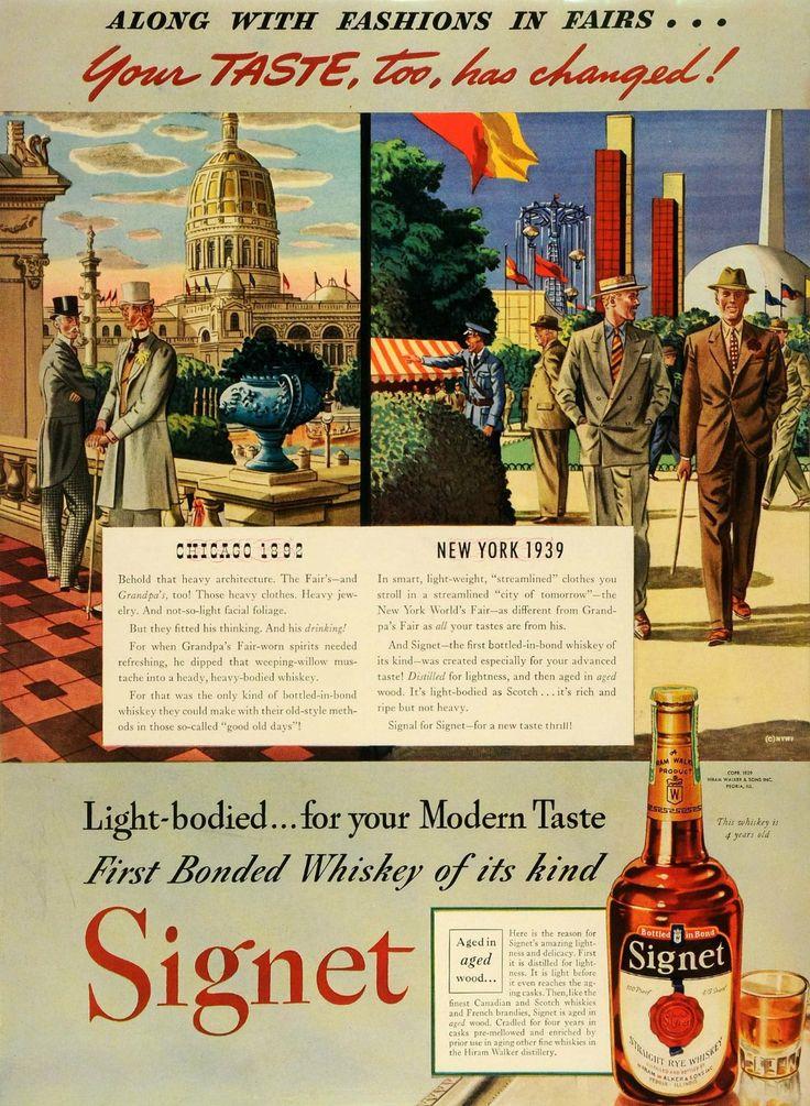 1939 Ad Hiram Walker & Sons Inc Signet Rye Whiskey Bottle New York Fair Fashion - Original Print Ad -