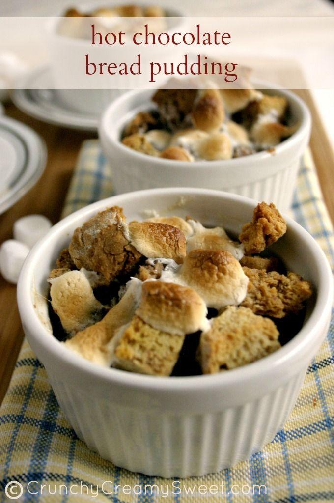 Hot Chocolate Bread Pudding CrunchyCreamySweet.com