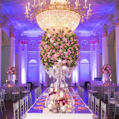Mirror top reception table pink wedding pinterest