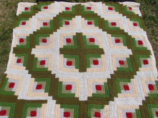 Crochet log cabin blanket afghan log cabin pinterest for Log cabin blanket
