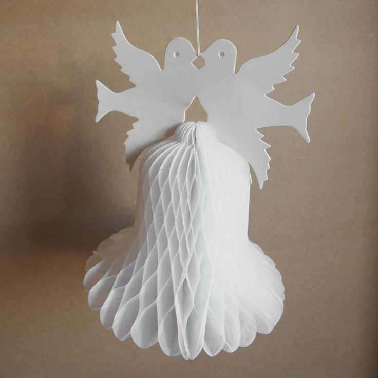 12 Inch Paper Honeycomb Decoration Wedding Bells Double Doves