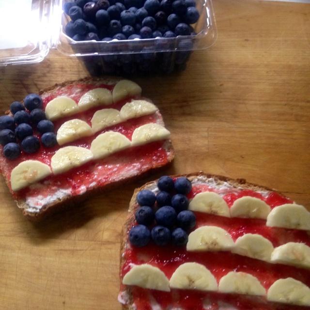 ... whole wheat bread, cream cheese, strawberry jam, blueberries & bananas