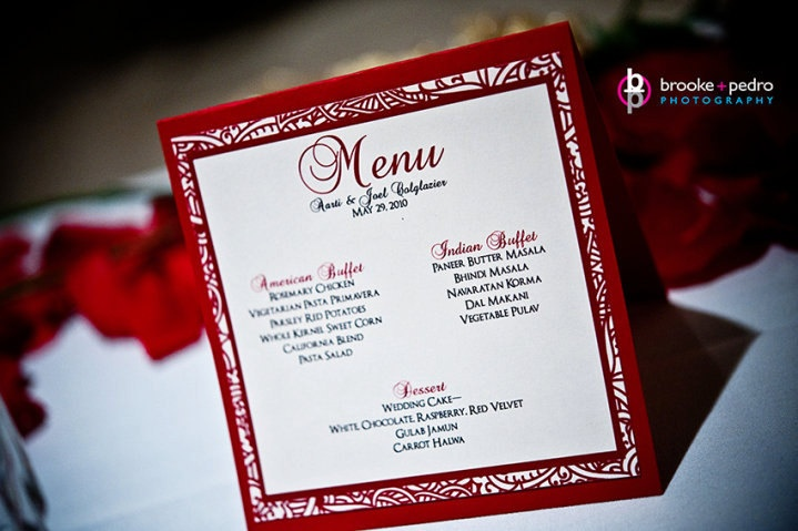 Indian Inspired menu | Wedding Table Menus | Pinterest