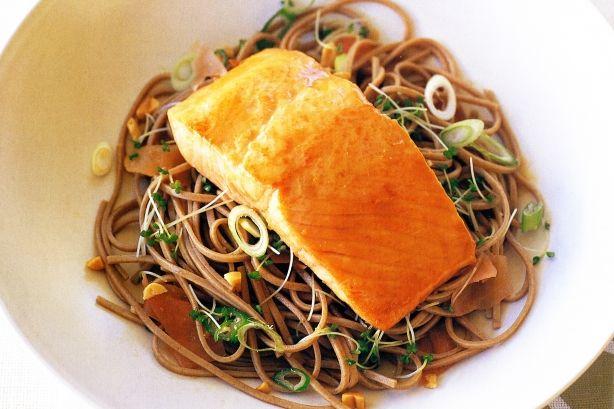 Miso-glazed salmon with ginger buckwheat noodles main image