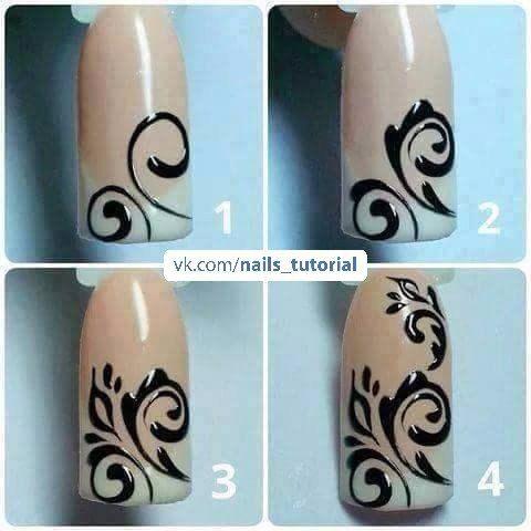 Простые рисунки гелем на ногтях пошагово