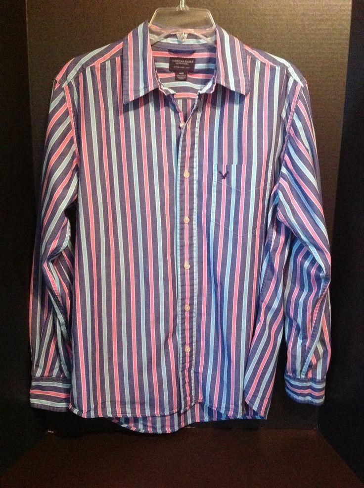 american eagle button up mens dress shirt medium blue pink