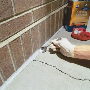 Seal cracks in concrete with durable urethane caulk. It'll keep water out and protect your foundation and walks from further cracking and eroding. You can do it in less than a half hour.