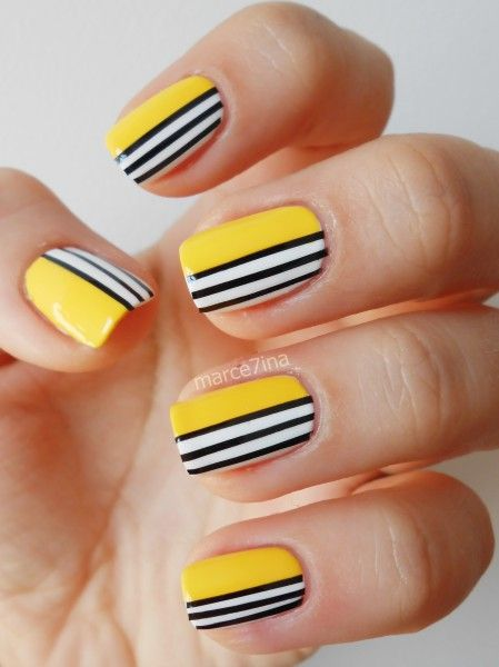 Striped nail art: three color colour design: yellow with black and white stripes #spring #summer 2013