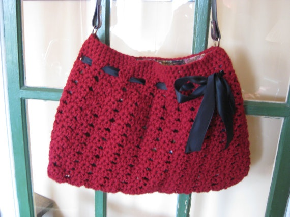 Crochet bag purse with leather strap tote summer Red