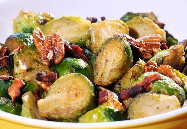 ... up hardy Brussels sprouts with bacon and pecans, chestnuts. Mmmm