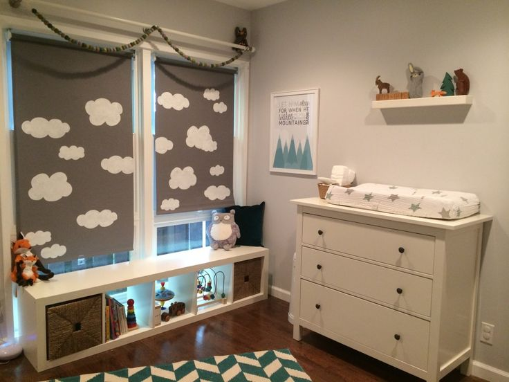 @IKEA USA Shades with Hand Painted Clouds - #nursery #DIY