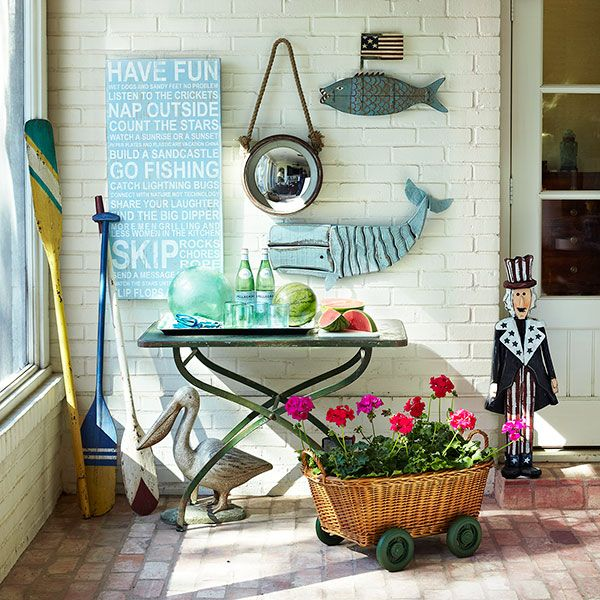 No matter where you live, create a beachy patio with fun coastal pieces