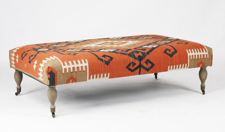 Rustic Deep Coral Orange Red Woven Kilim Coffee Table Ottoman