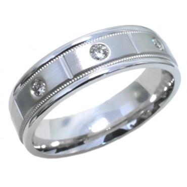men s diamond band with 3 round diamonds 0 12ct tdw set in 14k white ...