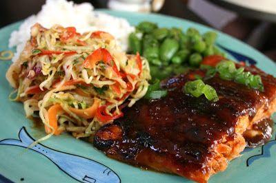 Miso-Sriracha Glazed Salmon with spicy slaw