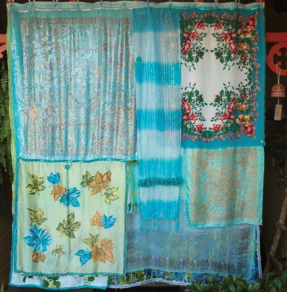 turquoise sea handmade gypsy shower curtain bohemian