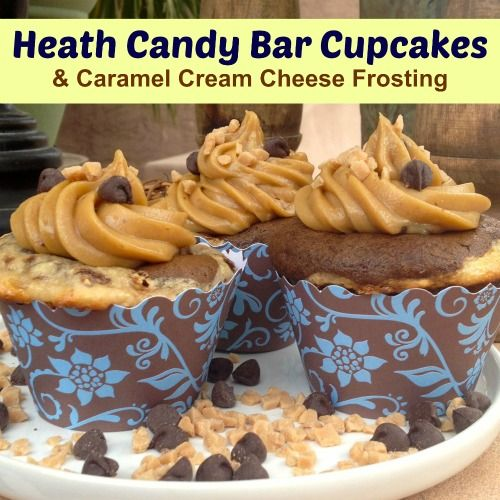 Heath Candy Bar Cupcake Recipe with Flower Cupcake Wrappers. http ...