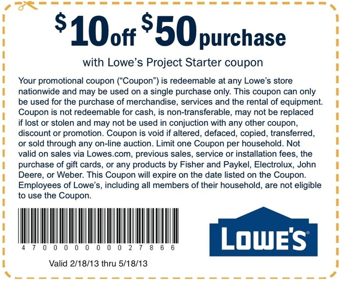 Lowes Printable Coupon: $10 Off Orders $50+ Use printable coupon in ...
