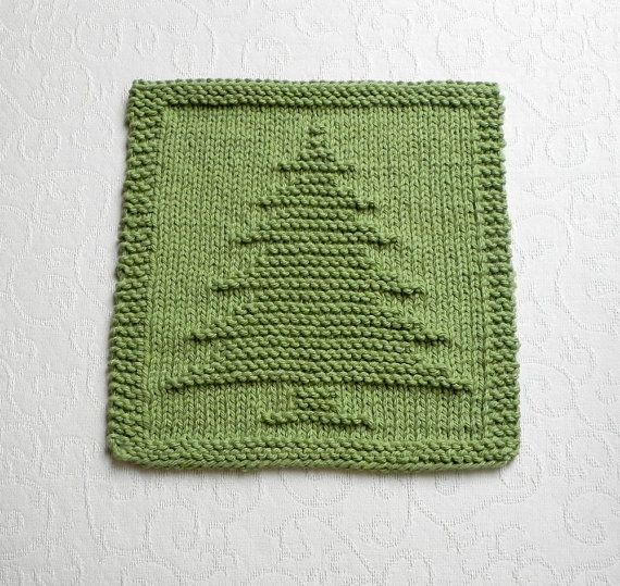 Christmas Tree Knit Pattern : Knit dishcloth christmas tree hand knitted unique design