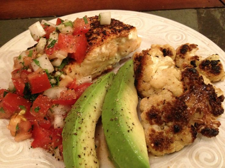 Pan seared salmon with pico de gallo roasted cauliflower and sliced ...