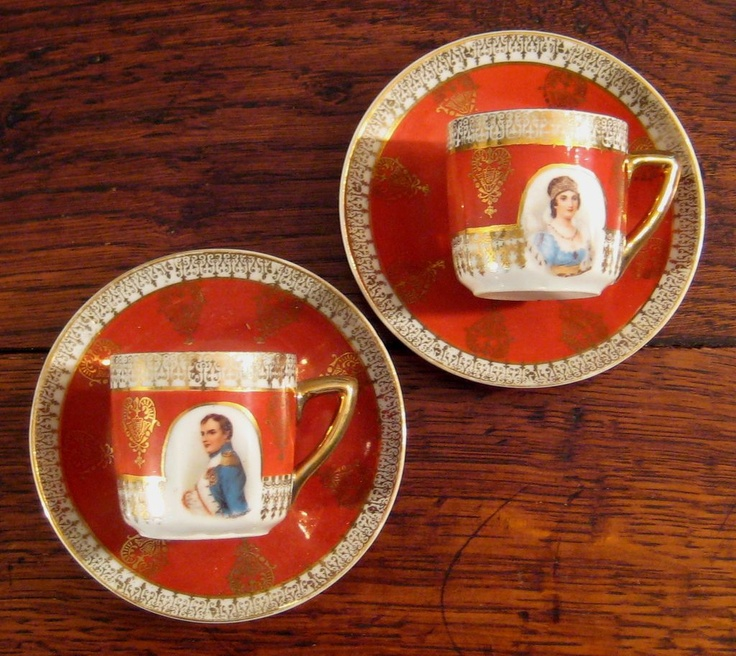 Vintage Pair Of Demitasse Cups & Saucers Of Napoleon & Josephine