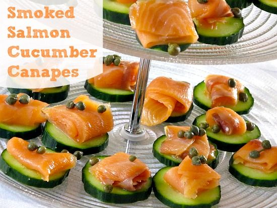 Smoked salmon cucumber canapes food for Smoked salmon canape