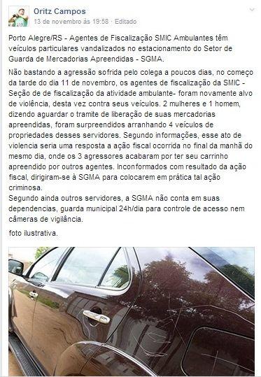 11/11/2014 - veículos de Fiscais atacados em POA