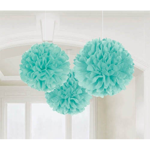 Robin's Egg Blue crepe paper pom poms.  These are so much fun to make!