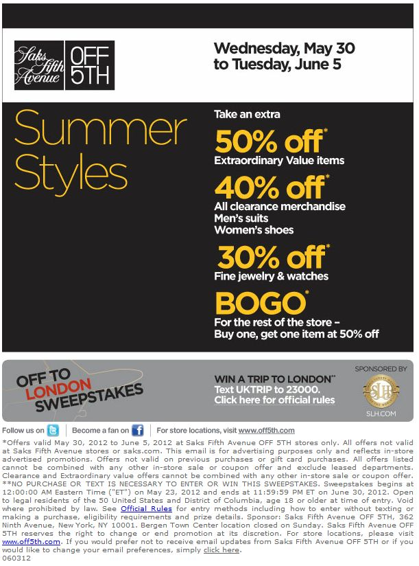 graphic relating to Avenue Coupon Printable referred to as Saks 5th road coupon printable / Knight discount codes