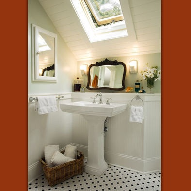 Bathroom sloped ceiling design small spaces pinterest for Slanted ceiling bathroom