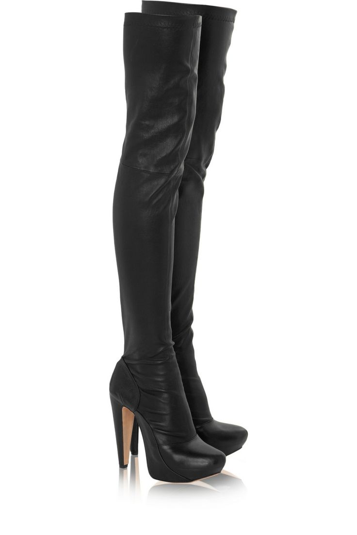 martha snake sted and stretch leather thigh boots