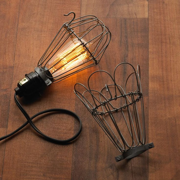 industrial wire bulb cage. Black Bedroom Furniture Sets. Home Design Ideas
