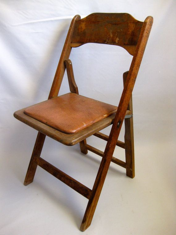 Vintage Wooden Folding Chair Mid Century