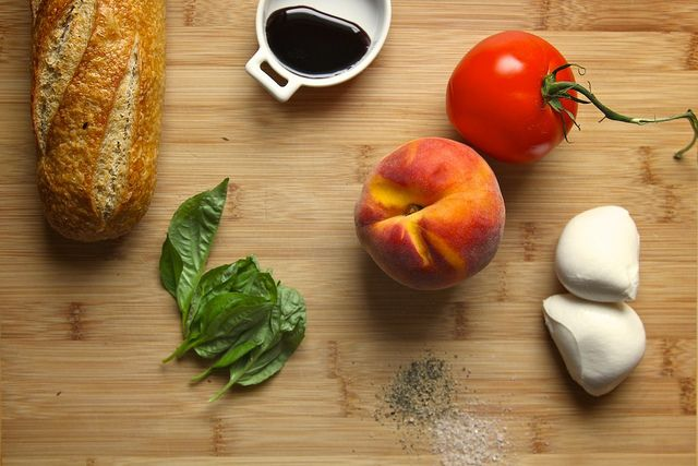 Peach Tomato And Mozzarella Crostini Recipe — Dishmaps