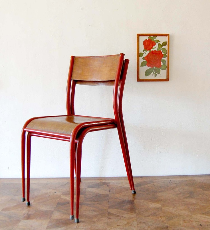 two french vintage school chairs