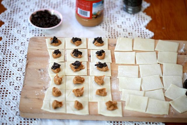 peanut butter. chocolate. pillows (filo dough, pb, chocolate, bake on ...