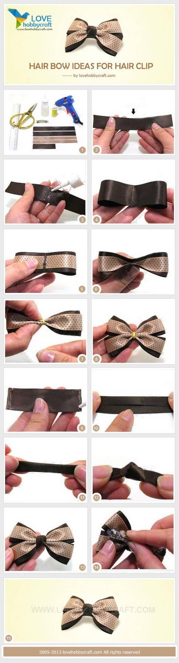 Как сделать бантик из лент для волос