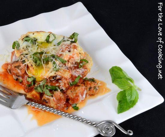 Baked Eggs with Sausage Mushroom and Basil Marinara on Toast * http ...