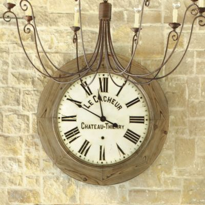 "French Farmhouse Wooden Clock   -Ballard Designs | European-inspired home furnishings 44""dia"