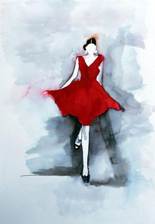 An illustration of an oscar de la renta dress by helen simms