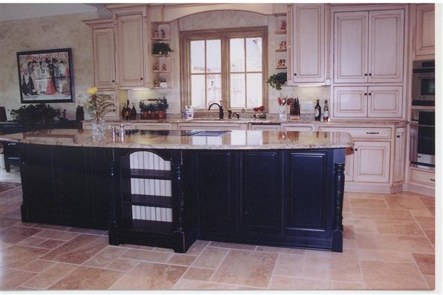 Painted and distressed kitchen with Black island