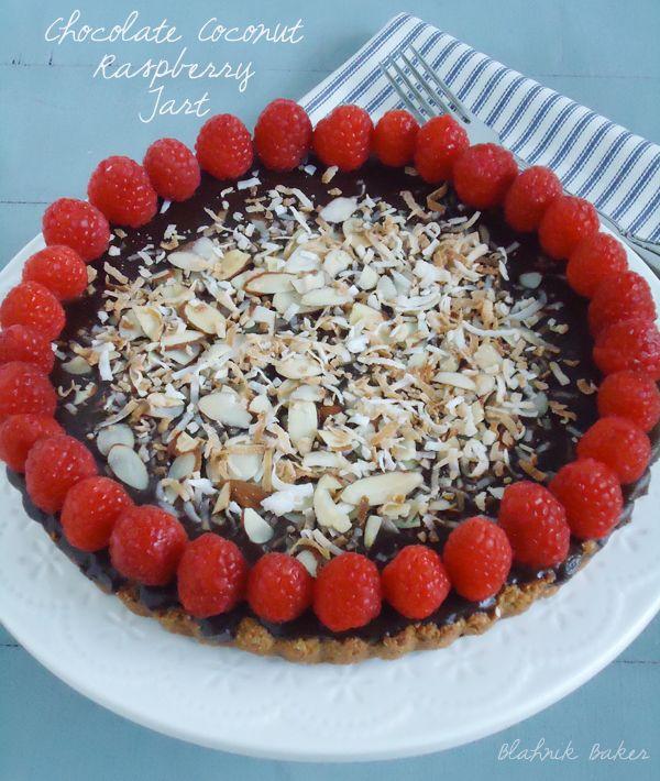 Chocolate Raspberry Coconut Almond Tart (Gluten-free, Vegan)