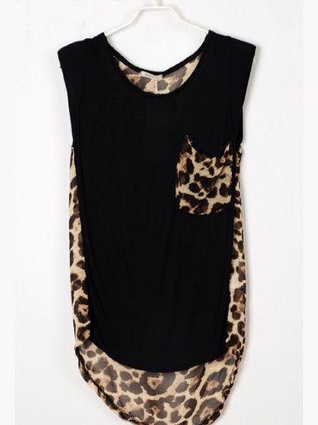 Black Round Neck Sleeveless Leopard Loose Chiffon Shirt :))