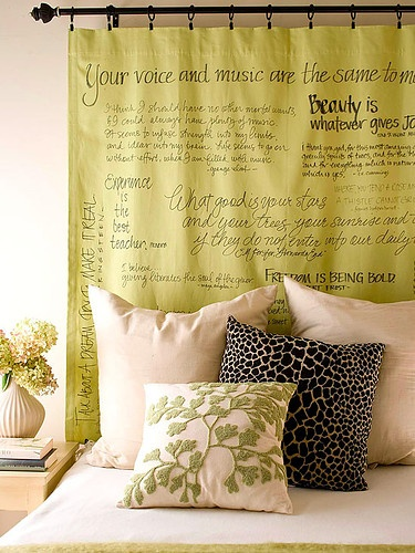Beautiful words - hanging on drapery rod over bed - simple and gorgeous