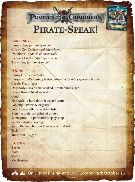 pirate speak for pirate's day