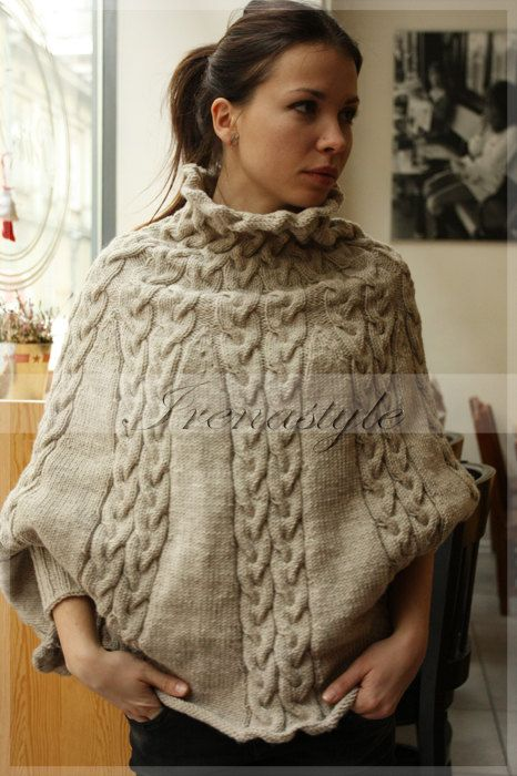 Knitting Pattern For Poncho With Sleeves : Poncho MADE TO ORDER Hand Knit Cardigan , Jacket , Poncho ...
