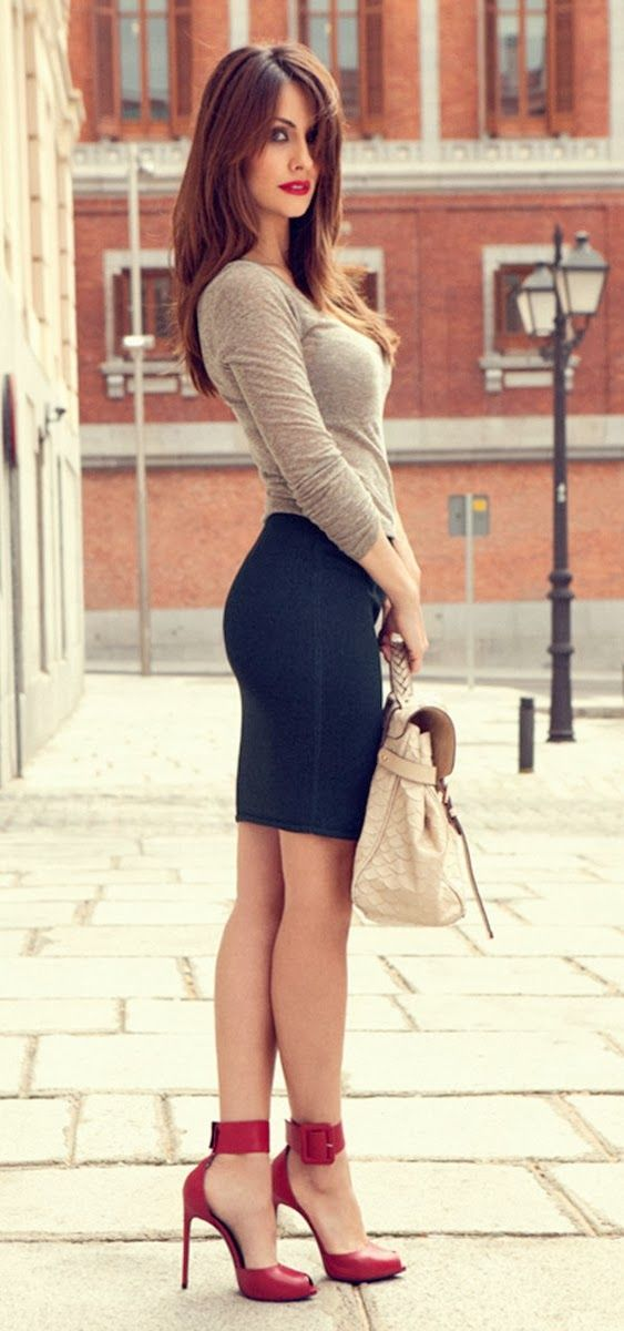 Gorgeous street fashion in grey, black and red ~ cute shoes!