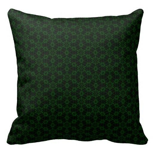 Forest Green Decorative Pillows : Forest Green Abstract Floral Pattern Throw Pillow