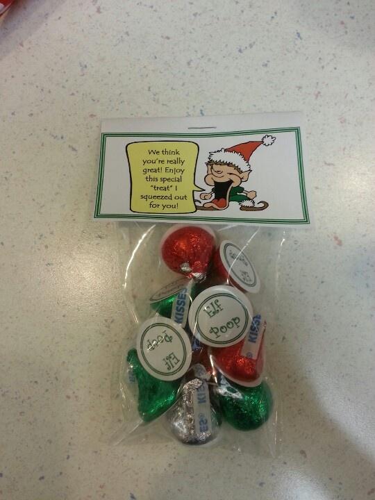 Elf poop hershey kisses and circle post it labels